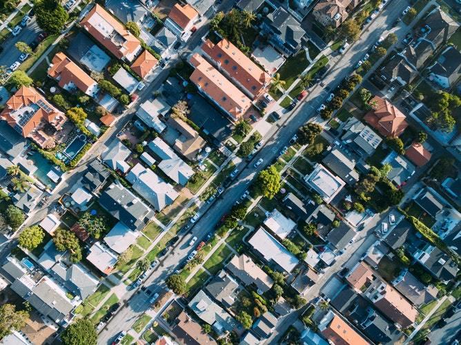 Bird's eye view of suburban neighborhood